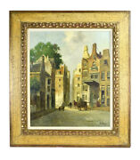 Impressionist 19th Century Style European Street Scene W Carts Oil Painting Sign