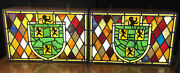 2x Vintage Lighted Stain Glass Beer Sign Hamms Lowenbrau Lions / Real Glass