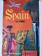 Vtg 50and039s Original Twa Spain Trans World Airlines David Klein Litho Poster Great