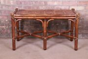 Mcguire Organic Modern Bamboo Rattan And Leather Coffee Table 1970s