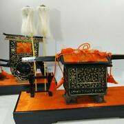 Vintage Japanese Traditional Figure Hina Doll Tool Court Carriage Palanquin Set