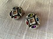 Rare Vintage Patricia Locke Clip On Earrings With Crystals Gold Tone