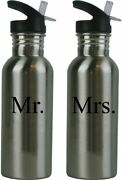 Mr. And Mrs. Stainless Steel Water Bottle Wedding Set With Straw Flip Tops