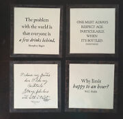Ben's Garden Copper And Glass Coaster Set Of 4 W.c. Fields Wine Quote Bar