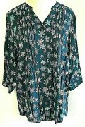 Coldwater Creek Size 1x Tunic Peasant Blouse Women's Plus Snowflakes Pintucked