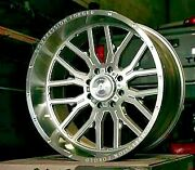 4 24x12 Axe 6.1 Compression Forged Silver Brushed Wheels 8x6.5 Dodge Chevy