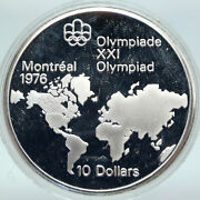 1973 Canada Elizabeth Ii Olympics Montreal World Map Proof Silver 10 Coin I86925