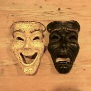 Antique 50and039s American Theater Mask Black And White Wall Hanging From Japan Used