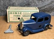 Vintage Tri-ang Minic | Ford Saloon Car | Windup | Navy Blue | With Box And Key