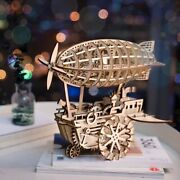3d Mechanical Puzzle Wood Vintage Airship Zeppelin Robotime Free Shipping