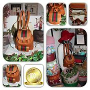 Luxurious Brown Bamboo Green And Red Web Stripe Mini Backpack