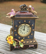 Jay Strongwater Miniature Enameled Crystal Table Clock Birds And Flowers In Box