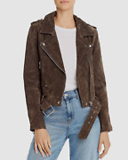 New 466 Blanknyc Womens Brown Suede Leather Zip-front Casual Moto Jacket Size M