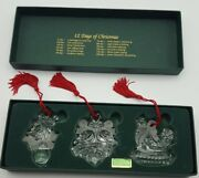Marquis Waterford Crystal Set Of 3 -1st In Series Ornaments 12 Days Of Christmas
