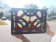 Antique Stained Glass Church Window Metal Framed Vent Transom 19c Andnbsp