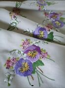 Vintage And039fairistytchand039 Pansies And Lily Of The Valley Hand Embroidered Tablecloth