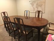 Ethan Allen Canova Cherry Campaign Style Dining Table, 6 Chairs, 2 Leaves, Pads
