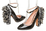 Rochas Black Patent Sequined Embellishment Chunky Heels Shw New Size 36