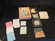 Lot Vtg Mcm Paper Greeting Cards Unused Gingham Girls Sugar And Spice Ravia Note