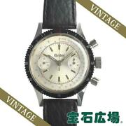 Gallet 2 Register Chronograph Menand039s Silver Dial Manual From Japan [e1027]