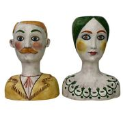 Mid-century Signed Horchow Italy Large 16man And Women Bust Vases.