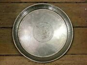 Vintage Old Rare Hand Carved Peacock German Silver Unique Brass Serving Plate