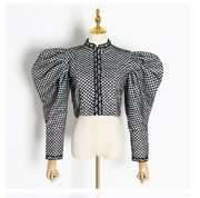 New Women Fashion Ruched Plaid O-neck Puff Sleeve Short Coat Streetwear Bs3