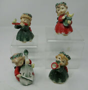Vtg Set 4 Lefton Hand Painted Christmas Angels Tags 1259n Near Mint Instruments