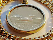 1988 Proof Canada Loonie Coin Bezel Pendant On A 24 Gold Filled Box Link Chain