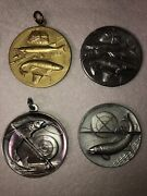 Lot 4 Fishing North American Club Token Medallion Collectors Pendent Lot Of 4
