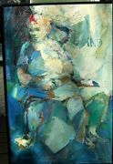 1950and039s Fine Quality Impressionist Oil Painting Of A Seated Man And Woman
