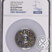 2020 Ngc Ms70 Antiqued First Releases Tuvalu 5 Oz Silver Signs The Zodiac Coin