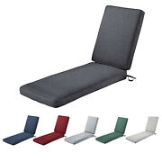 Water Resistant Patio Chaise Lounge Cushion Outdoor Beach With Removable Cover