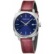 Calvin Klein Menand039s K9n111zn Frater Blue Dial 42mm Leather Watch