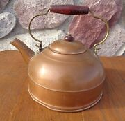 Vintage Revere Ware 1801 Copper Teapot Tea Kettle Wood Handle Made In Rome Ny