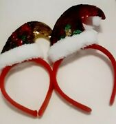 12 Pc Santa Hat Sequin Christmas Headband Gold And Red Party Favors Gifts