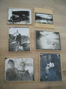 Lot Of 6 Antique Glass Plate Negatives And Photos Bridge Horse Wagon People