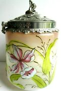 Art Nouveau Cookie Bucket Legras Enameled Glass Jar Pink And White Orchid