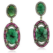 Natural Emerald Pave Diamond Ruby 18k Gold Dangle Earring Silver Jewelry Gift