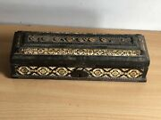 Old Antique Mughal Beautiful Wooden Inlay Workbrass Bone Box Collectible