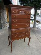 Outstanding Cherry Queen Anne Highboy Crafted By Thomasville 20thc.