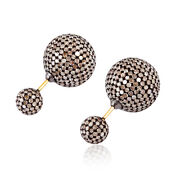 Solid Yellow Gold 10.2ct Pave Diamond Sterling Silver Double Sided Earrings Gift
