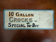 10 Gallon Crocks Pottery Antique Sign Card Stock 1920s Hand Painted Also Shoes