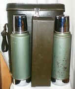 Vintage 1970and039s Aladdin Double A944b Stanley Thermos Picnic Set W/case