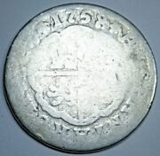 1759 Spanish Silver 2 Reales Antique 1700s Colonial Two Bit Pirate Treasure Coin