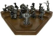 Vintage Hudson Pewter Band Anthropomorphic Animal Figurines Orchestra Complete