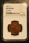 1850 Braided Hair Large Cent 1c - Ngc Uncirculated Detail - Red Ms Unc Penny