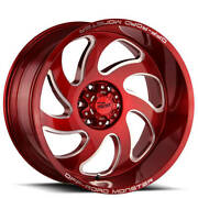 4ea 24 Off Road Monster Wheels M07 Candy Apple Red Milled Rimss42