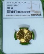 Highest Ngc Grade.2015 Canada Maple Leaf G10 Ngc Grade Ms 69. Top Pop Gold Coin
