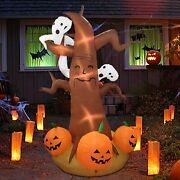 Halloween Blow Up Inflatable Pumpkin Ghost Tree And Light Outdoor Yard Decorations